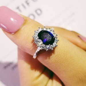 NEW 925 Sterling Silver Oval Blue Sapphire Ring